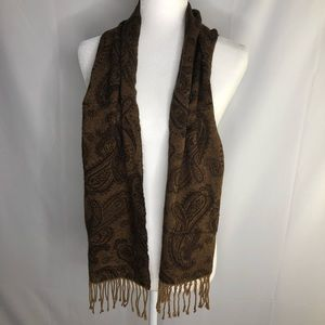 Cejon soft acrylic scarf, brown & tan paisley